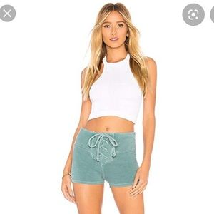 NEW WILDFOX Mae tied up green shorts Size L